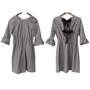 Ces Femme Gingham Peplum Sleeve Dress Bow Detail L